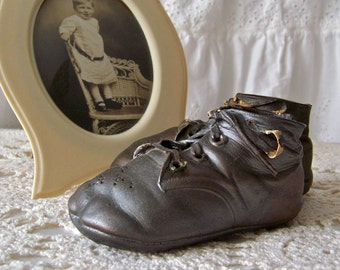 Vintage Bronze Baby Shoes Baby Keepsake Baby Shower Photo Prop 1940s