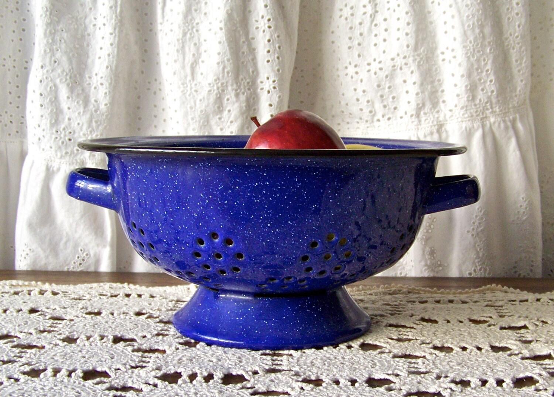 Vintage Enamelware Colander Blue Speckled Colander Graniteware