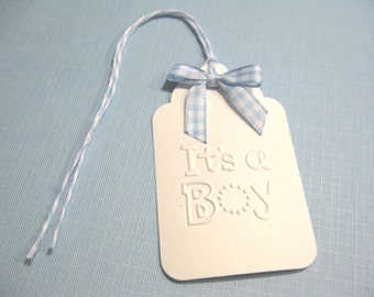 10 Embossed It's a Boy Baby Shower Tags with Gingham Bows - Gift Tags - New Born Baby -  Blue