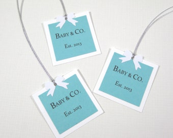 10 Baby Shower Favor Tags - Audrey Hepburn Breakfast at Tiff... Shower - Baby and Company Tags - Gift Tags - Aqua Blue Tags - Pool Blue