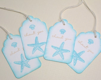 10 Beach Seashore Destination Wedding Favor Tags or Bridal Shower Tags - Seashell Gift Tags - Aqua Blue - Beige - Pool Blue - Thank You Tags