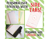 SIZE: PERSONAL (Side Tabs/Special Set) Personalised Pastel Stripe Dividers with Tabs Cute Kawaii Custom Made Filofax