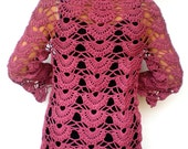Lace Cardigan Trendy Wine Pink   Hand Crocheted Woman Sweater Tunic  Cardigan NEW