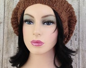 Tweedy Bobble Beret in Ginger