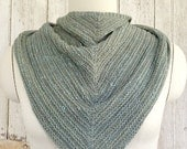 Dusty Blue Alpaca and Wool Ridged Shawl