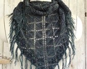 Diamond Lacy Deep Blue Green Fringed Shawl
