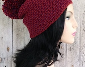 Maroon and Dark Red Pom Pom Texture Hat