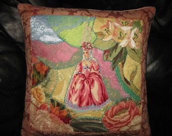 Marie Antoinette Pink Pillow Cover. Needlepoint Lady and Crazy Quilt Cushion 16x16  inches