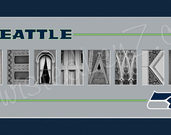 Seattle Seahawks Alphabet Photo Collage