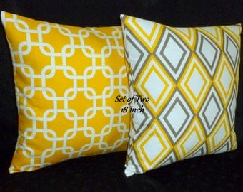 Decorative Pillows, Accent Pillows, Throw Pillows, Pillow Covers, Home Decor - Two 18inch Yellow, Taupe and White
