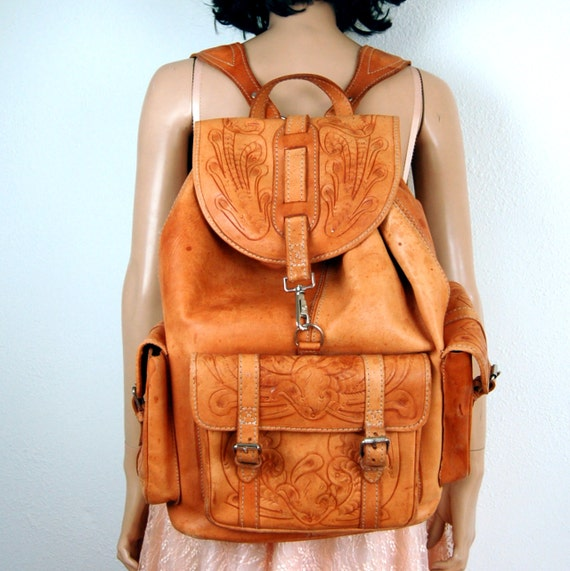 Large Hand Tooled Riding Leather Backpack Bag