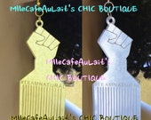 """EXCLUSIVE Mirror Laser Cut  Acrylic Disc Earrings - TEAMNATURAL """"Natural & Proud"""" Afro Pic"""