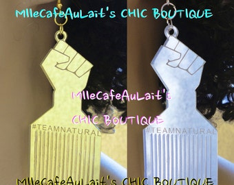 "EXCLUSIVE Mirror Laser Cut  Acrylic Disc Earrings - TEAMNATURAL ""Natural & Proud"" Afro Pic"