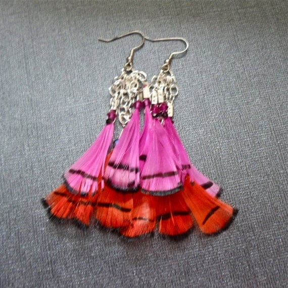 Hot Pink and Neon Orange Feather Earrings Fun Fall Fashion Jewelry Chain Earrings that Dangle