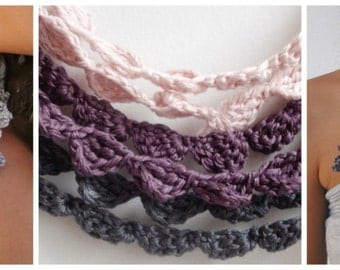 2 CROCHET PATTERN  Lace and Shell patterns- crochet shell pattern, crocheted trims and edgings- crocheted bohemian necklacesinstant download