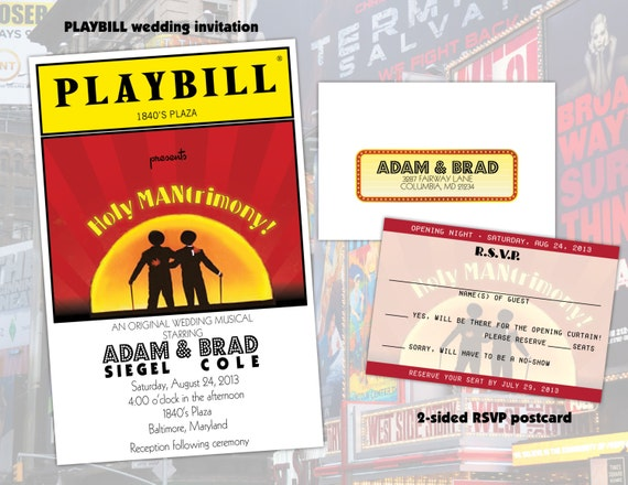 Gay Wedding Invite: PLAYBILL Theater Wedding Invitation Same Sex GAY Marriage