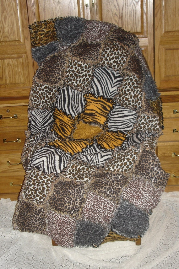 Animal Print Rag Quilt Blanket Cotton Flannel Jungle Big Cat
