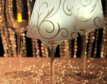36 Wine Glass Shades Swirl Print Vellum Lamp Shades David Tutera Wedding Centerpieces