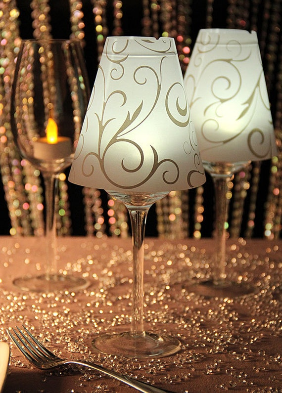 36 Wine Glass Shades Swirl Print Vellum Lamp Shades David