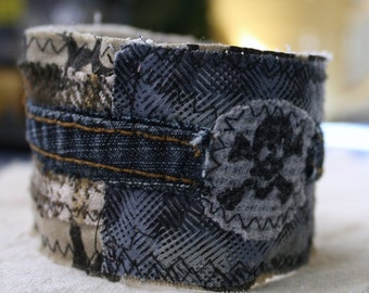 Men's Wrist Cuff, Teen gift, Textile cuff: Eco friendly, Upcycled