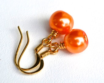 Orange Pearls . Earrings