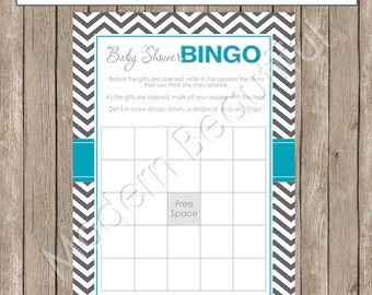 Baby Shower Bingo - Teal, Aqua, Gray Baby Shower Bingo - INSTANT DOWNLOAD