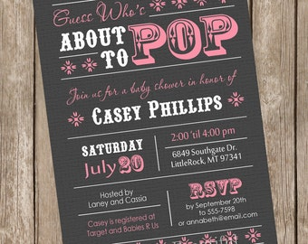 About to Pop Baby Shower Invitation, girl baby shower invitation, grey, pink, gray,  typography, printable invitation