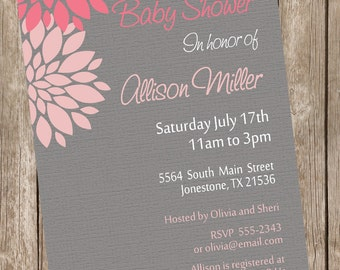 Girl Baby Shower Invitation Flower Pink and Grey printable invitation