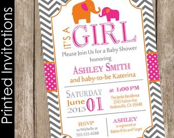 Hot pink and orange baby shower invitation elephant baby shower invitation baby girl baby shower invitation invite (FREE ENVELOPES) EPOG
