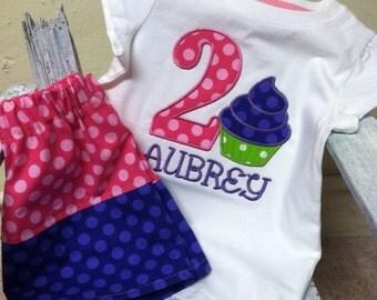 Cupcake Birthday Shirt with Matching Skirt