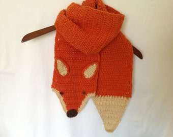 fox scarf, ready to ship,red fox scarf, Valentine's  gift, handmade fox scarf, animal crochet scarf, kid fox scarf