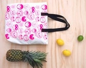 Neon Pink Owl Canvas Tote Bag