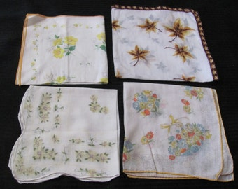 Lot of 4 Assorted Colorful Vintage Cotton Hankies