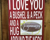 """I Love You a Bushel and a Peck -Picture Frame Sign - Hand Painted and Distressed - 11""""x16"""""""