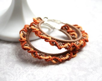 Autumn Fall Colors Hoop Tatting Lace Earrings