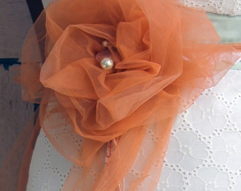Bridal tulle flower at your wedding the flower became to brooch