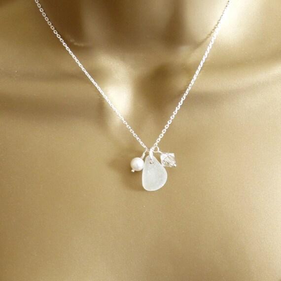 Snow White Sea Glass, Swarovski Crystal, Pearl Necklace