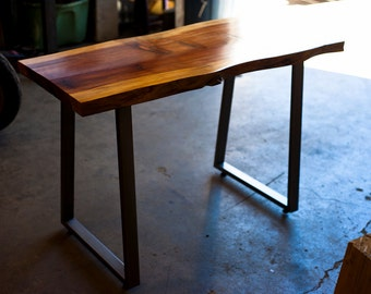 Live Edge Redwood Desk, Steel Trapezoid Legs, Custom