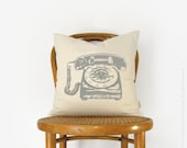 Vintage rotary phone, Vintage 60s inspired pillow case  | Pick your Ink Color - Fabric | Personalized cushion cover 16x16 or 12x18 inches