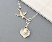 Calla Lily Necklace - Sparrow Necklace - Bridal Jewelry Bridesmaids Necklace