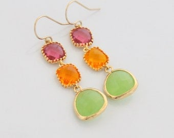 Apple Green Earrings Orange, Fuchsia Glass Earrings Green and Gold Long Earrings Tangerine Pink Wedding Bridal Bridesmaids Gift Unique