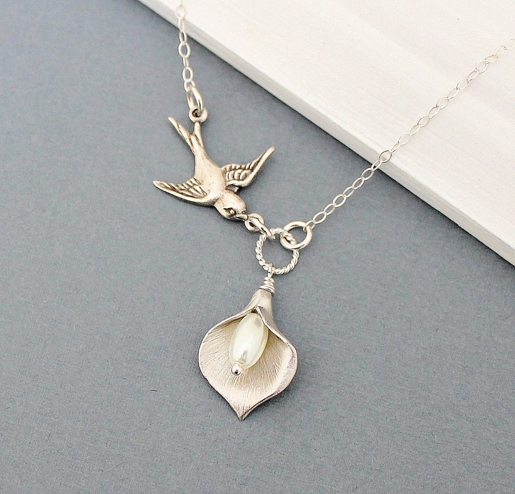 Calla Lily Necklace Sparrow Necklace Bridal Jewelry