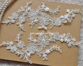 Alencon Lace Appliques Ivory Floral Embroidered Patches For Wedding Supplies Bridal Hair Flower Headpiece 1 Pair