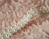 Ivory Beaded Lace Trim Pearl Beaded Lace Trim 1 Yard For Costume Wedding Dress Belt Brial Sash Jewelry Design