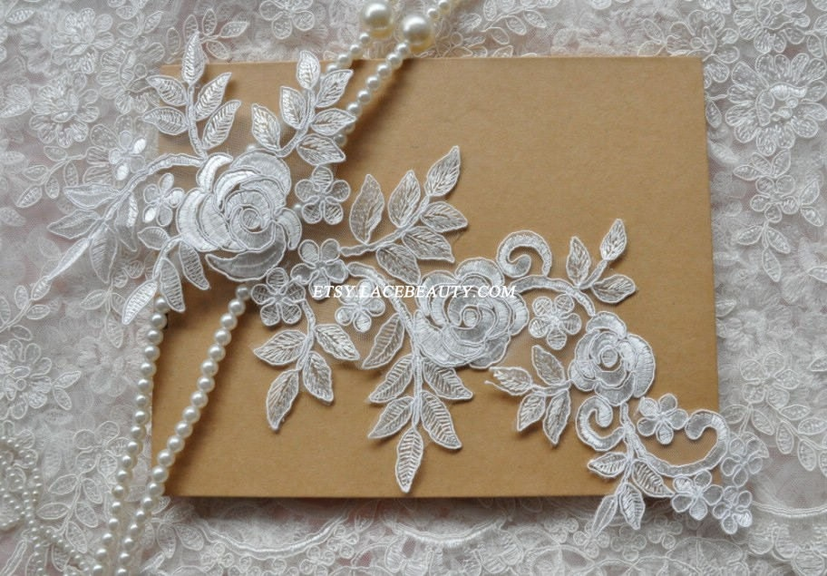 Alencon lace applique ivory embroidered patch rose flower