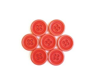 7 Red Pink Buttons, Floral, Flower, Vintage