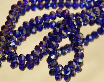 25 pcs 6x4mm Transparent Dark Blue AB Faceted Rondelle Glass Beads  SBAB1