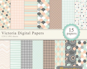 light pinks, blues and grey scrapbook paper 12x12,  royalty free- Instant Download