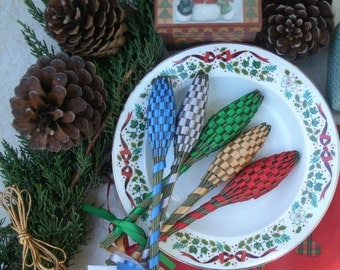 Lavender Wands - Christmas Decor Quintet (5) Small Size English Lavender Batons Assorted Colors