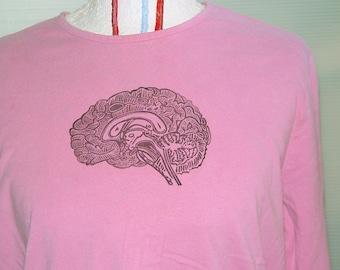 Geekery Girl Pink Brain Shirt-SALE- Linocut Printed Bust 38-40